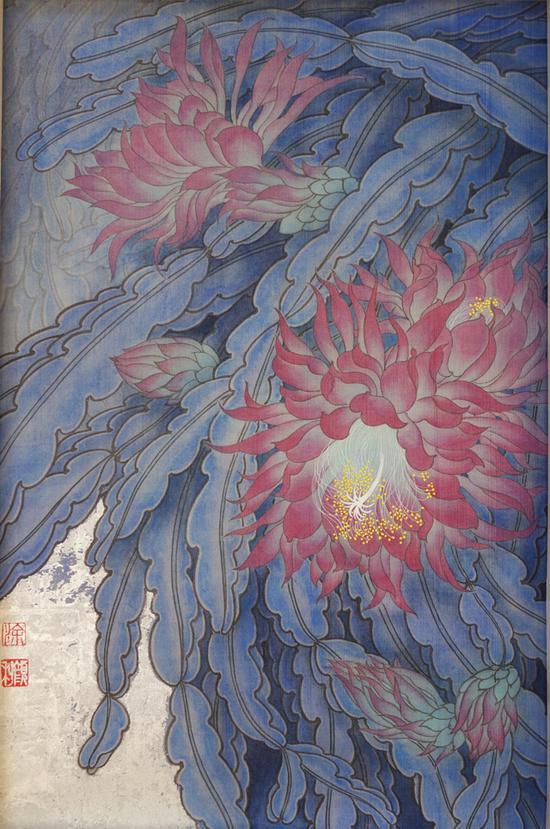 涂颜利,夜幕下的剑花,绢本工笔重彩银箔,46x30cm,2017