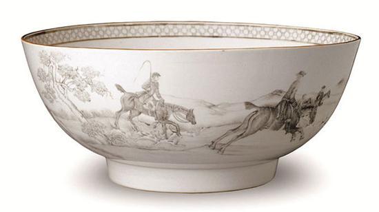 【清】带捕猎图的外销潘趣碗 景德镇瓷 1722—1735年