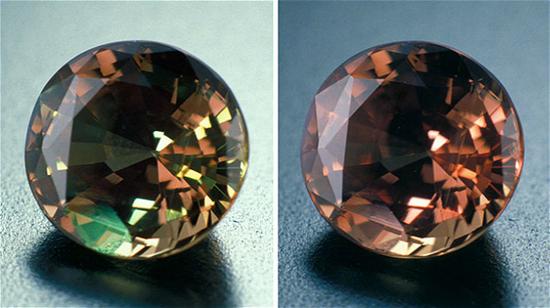 这颗产自斯里兰卡的亚历山大变石呈现的颜色变化缺乏力度,并且其颜色偏褐色。
