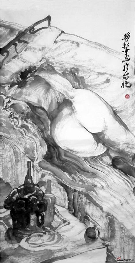 慵懒系列一,尺寸:68x136cm,创作年代2013,材质,水墨、宣纸