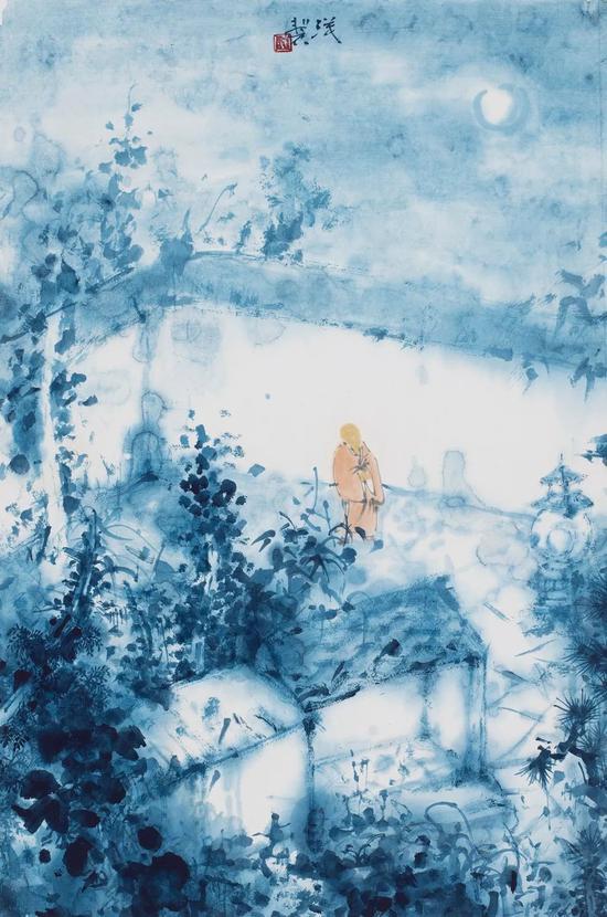 《明月禅心》47×31cm 纸本水墨