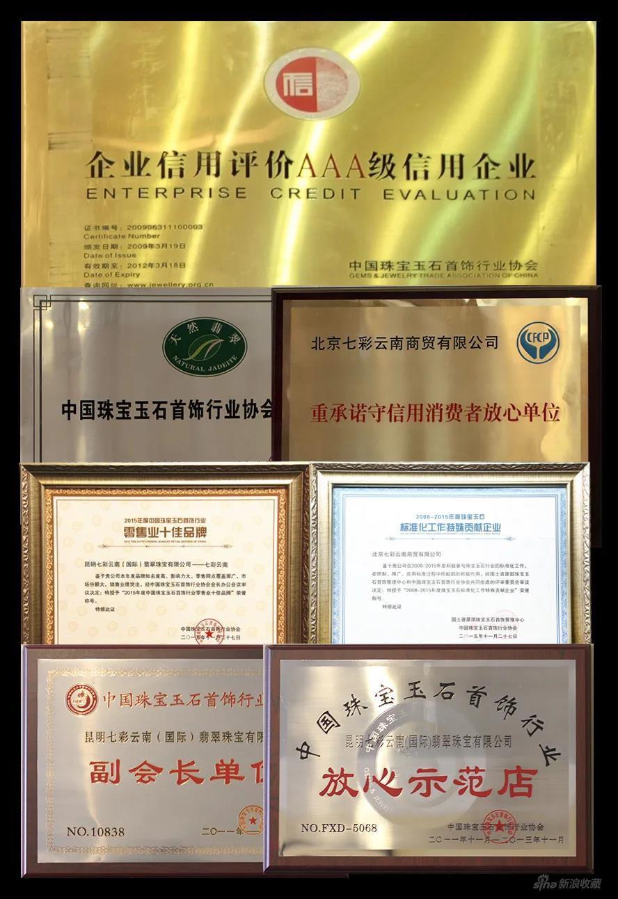 七彩云南品牌荣誉证书集