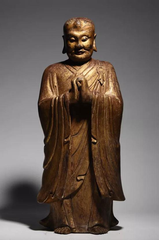 明 木雕漆金迦叶像   H:85cm