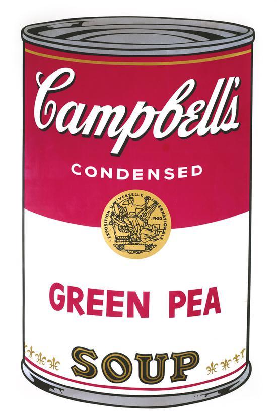 安迪·沃霍尔 《 坎贝尔的绿豌豆汤》 纸本版画 80 × 52.86cm 2017年