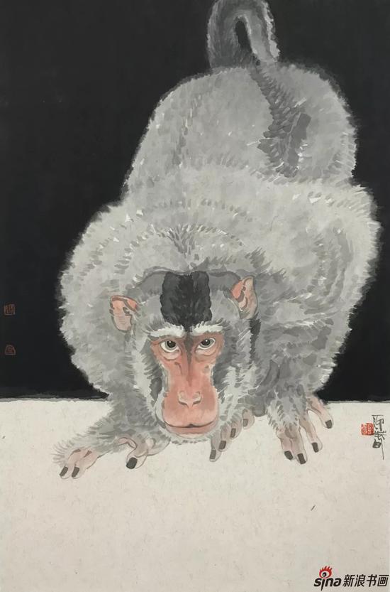 猴子 设色纸本 75×35cm