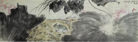 《荷塘蛙声图》