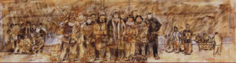 天安门前七十年代草图   纸本 素描   19×59cm