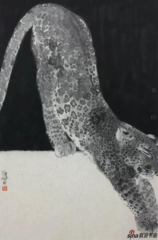 金钱豹 水墨纸本 70×46cm
