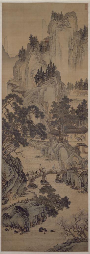 《春山游骑图》轴,明,周臣绘,绢本,设色,纵185.1cm, 横64cm
