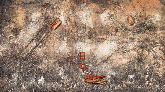 变身小摩西,油画画布和木头,2004