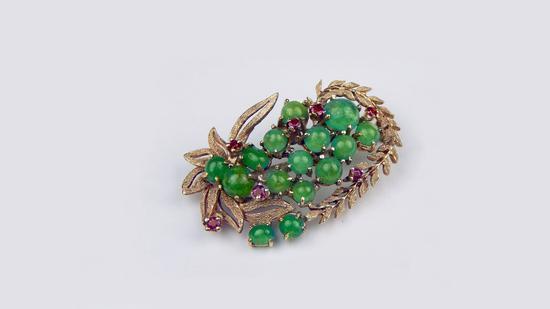 百年全手工制作14K金哥伦比亚祖母绿胸针