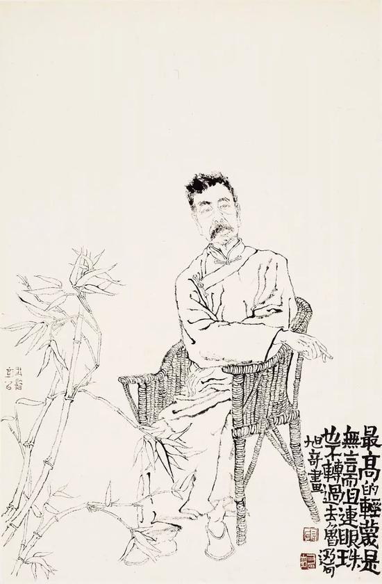 高旭奇 鲁迅先生小像 66×43cm 纸本设色