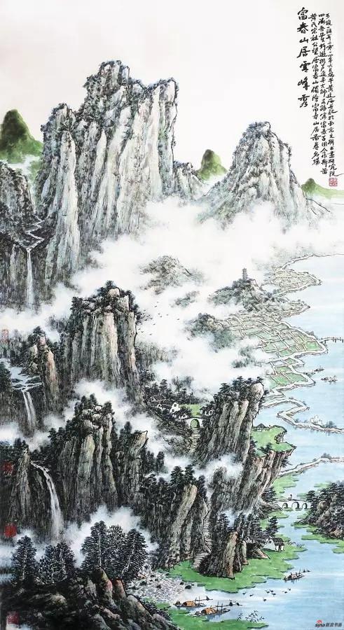 黄廷海富春山居云峰秀 180x95cm