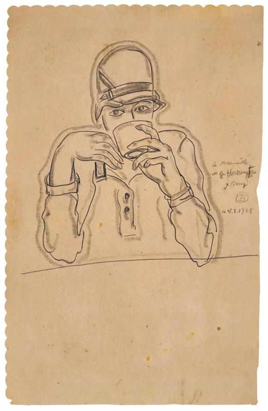 Lot。 619 常玉《哈蒙尼耶小姐半身像》 1928年 纸本炭笔铅笔49×31.5 cm。