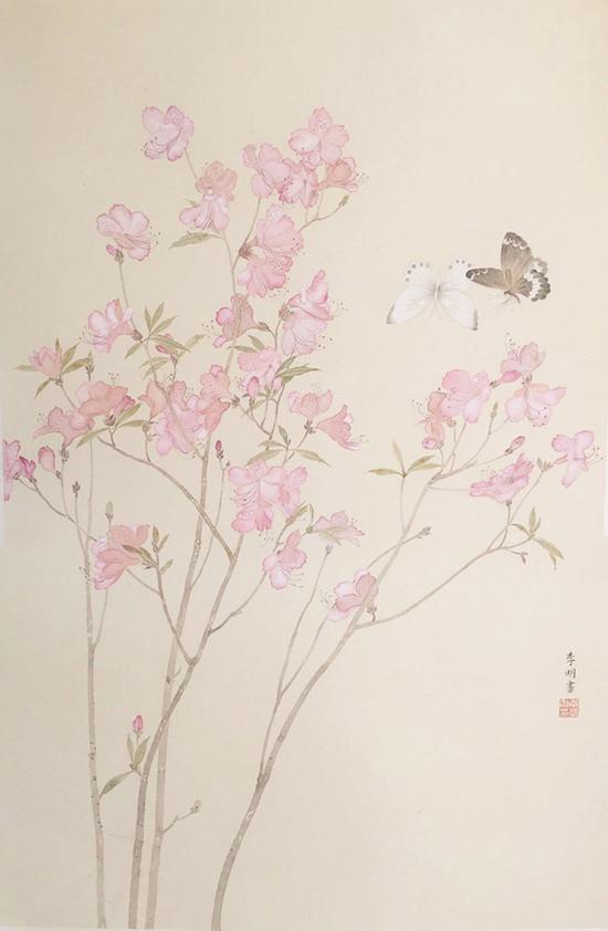 李明,花间,纸本设色,72x46cm,2017