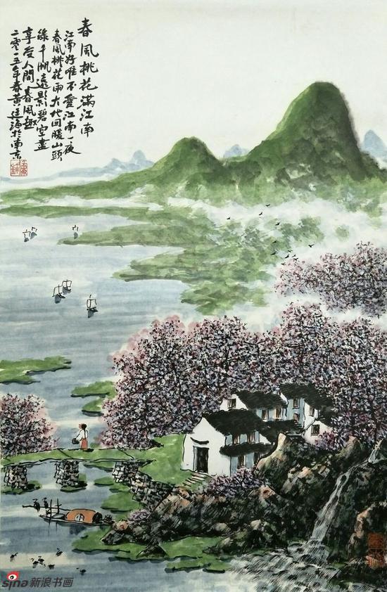 《春风桃花满江南》,69cmx69cm,2015年,黄廷海作