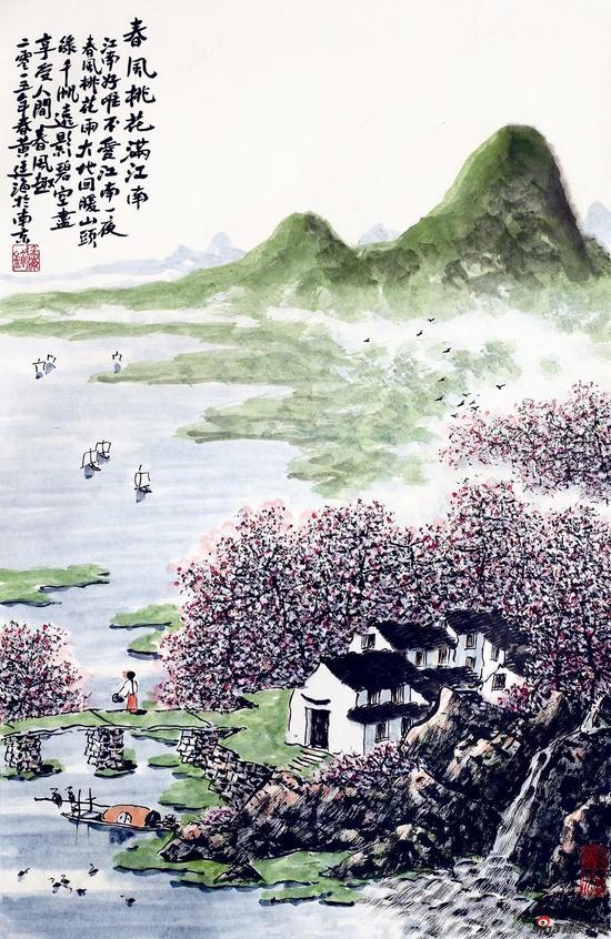 春风桃花满江南(69×46厘米,2015年)