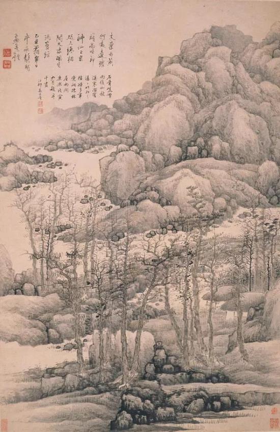 清 龚贤 《木叶丹黄图轴》 上海博物馆提供
