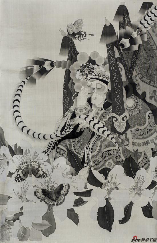 《空,之一》,120×80厘米,绢本工笔,2012年