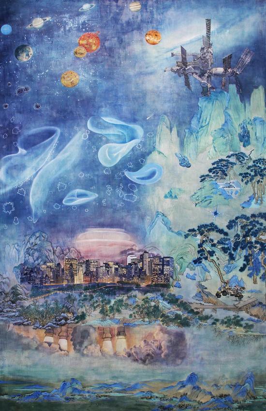 丛云峰 Cong Yunfeng 查拉图斯特拉如是说:科学 Thus.Spoke.Zarathustra:Science 180x110cm 综合材料 Mixed Materials 2014