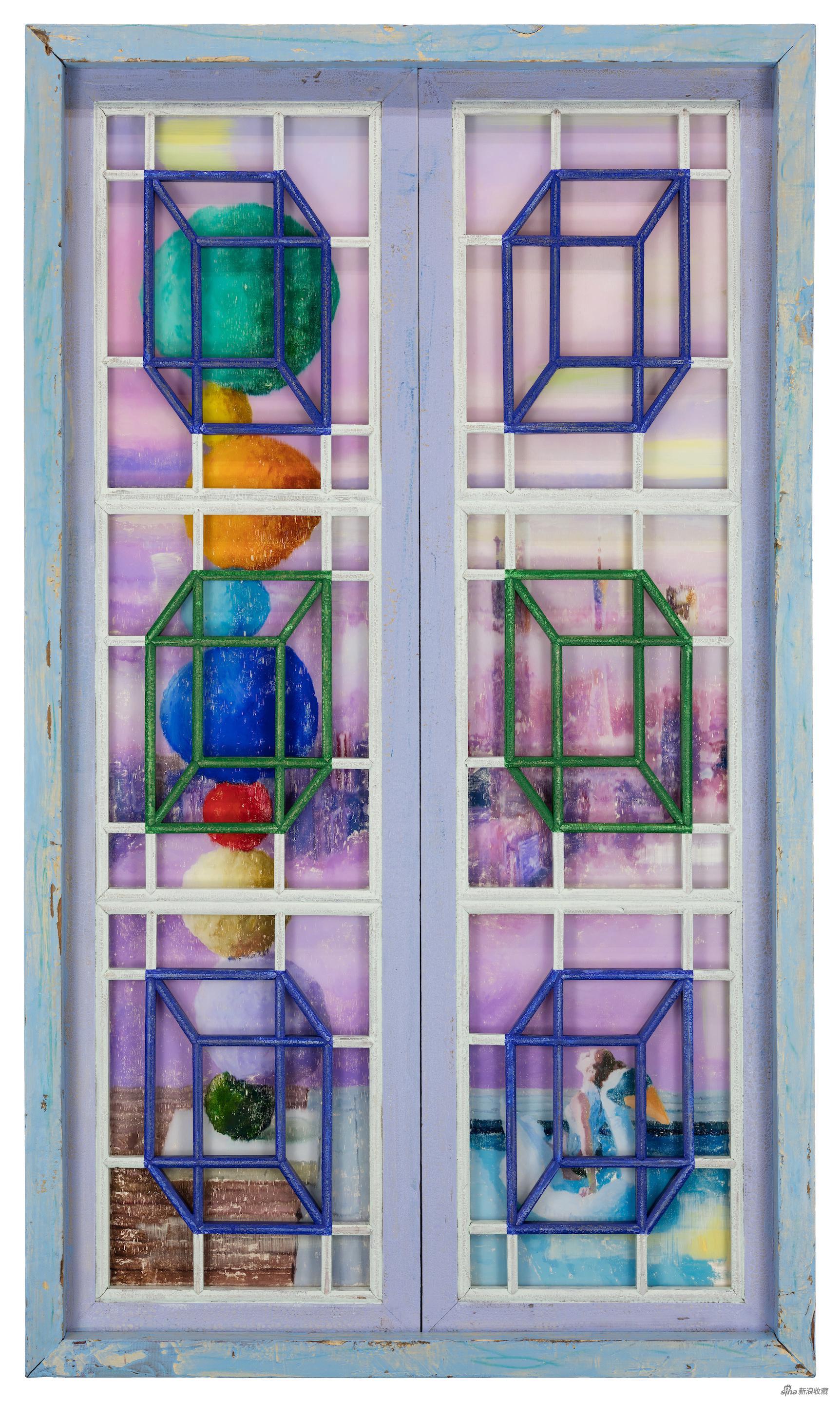 后窗·彩石,古董木窗、油彩、有机玻璃,157 × 92 × 10 cm,2021