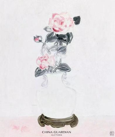 常玉  白瓷瓶中的粉红玫瑰  1931年  布面 油画  65x49.5 cm