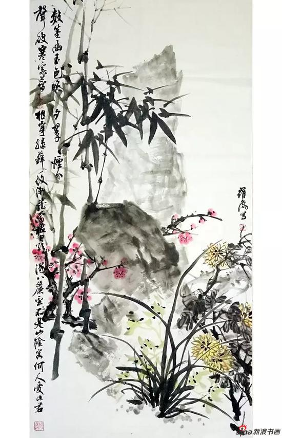 罗岚花鸟作品
