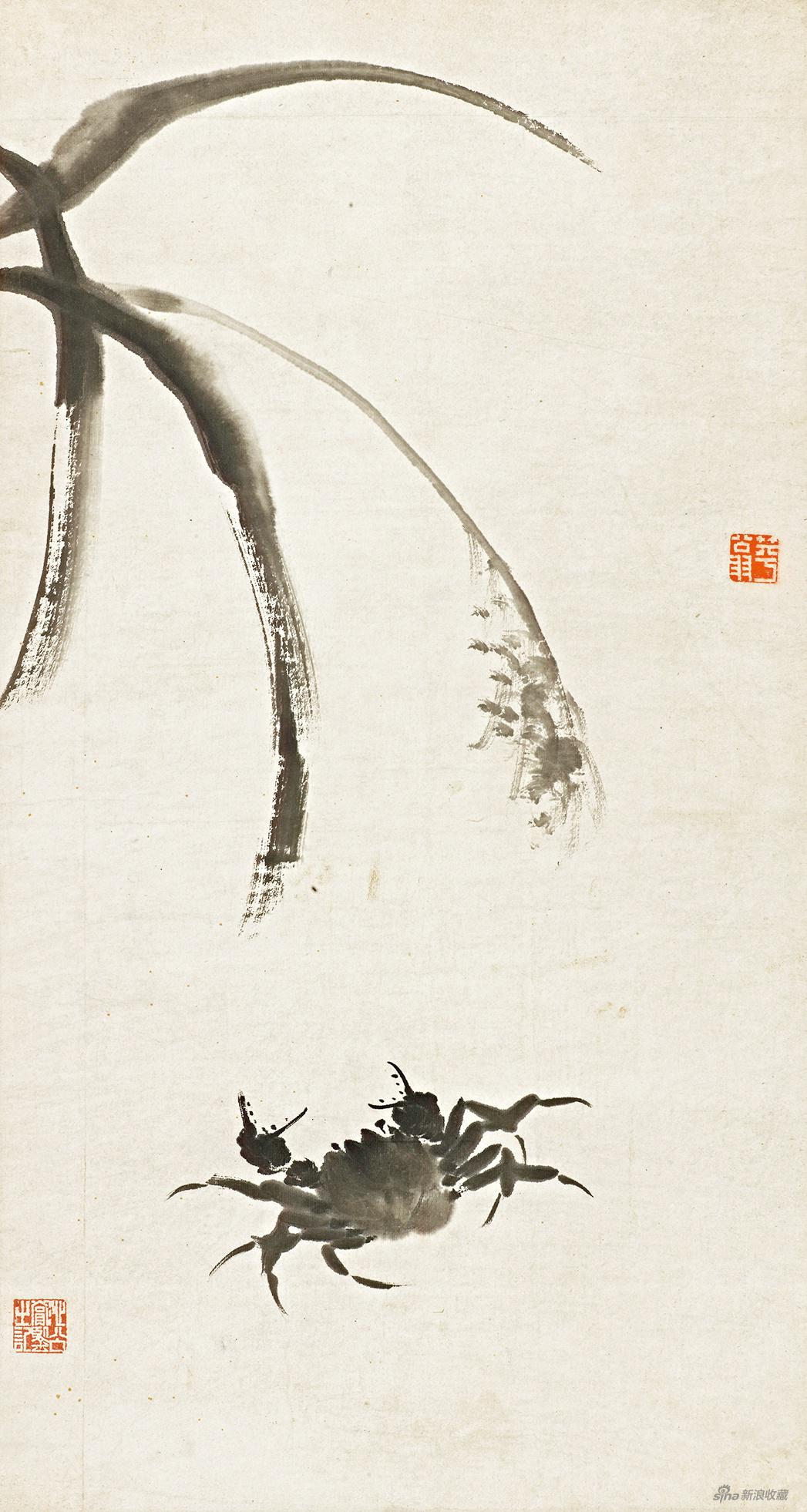 芦蟹图 齐白石 无年款 75×40cm 纸本水墨 辽宁省博物馆藏