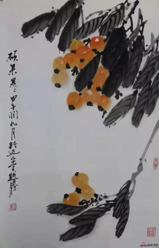 刘越胜扇面画《硕果累累》作品赏析