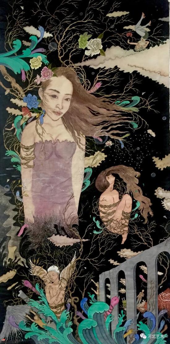 《安魂曲之蜕变慢慢在夜风中悄然消散》 138x70cm 纸本工笔 2016