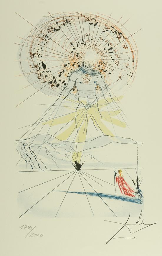 萨尔瓦多·达利 《新郎在山上》平版版画 65x50cm 1740/2000 雕版签名