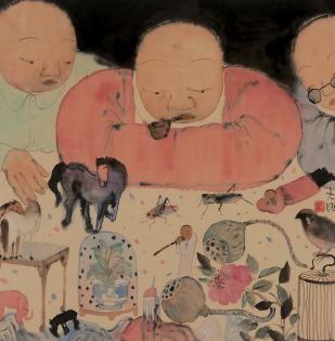 李旺作品 相 69x68 cm 纸本水墨 2018