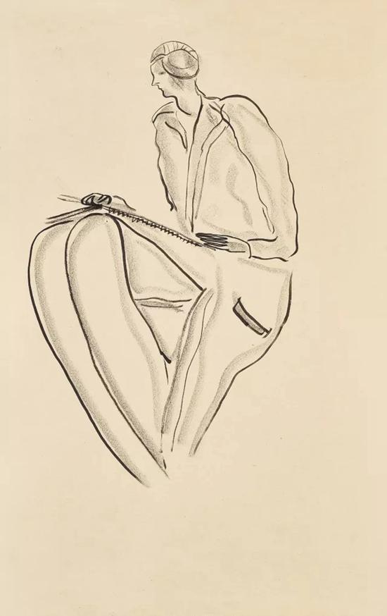 Lot.622 常玉 《画速写的女子》 纸本水墨炭笔 45×28 cm。
