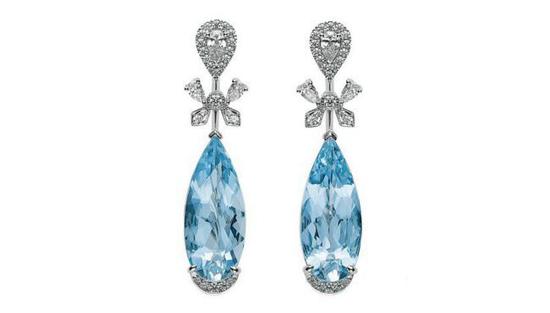 Mikimoto 御木本 Paruré系列 耳环 海蓝宝石、钻石
