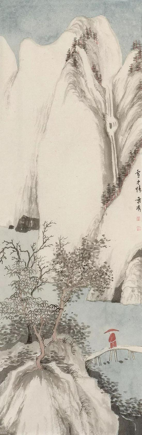 贾景秀 雪中情 68x23cm 纸本 2018