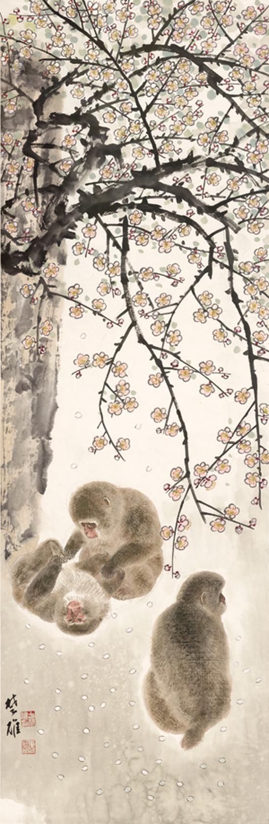方楚雄《梅花猴子》137.5cm×45cm  纸本设色  2018年