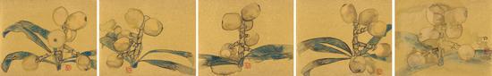 林蓝《始终系列》30cm×37cm×5  纸本设色  2018年
