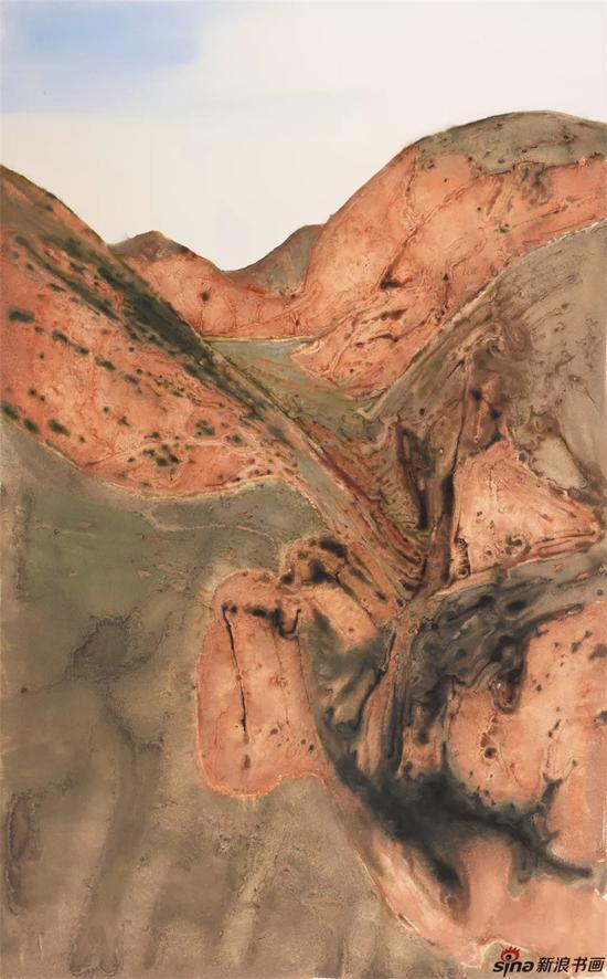 《黄土系列之五》纸本色粉185cmx115cm2018年