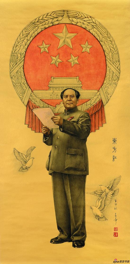 刘熹奇作品《东方红》 136cmX68cm 2011年