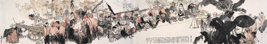 梁长林 繁忙的集市 120cm×700cm 1981年