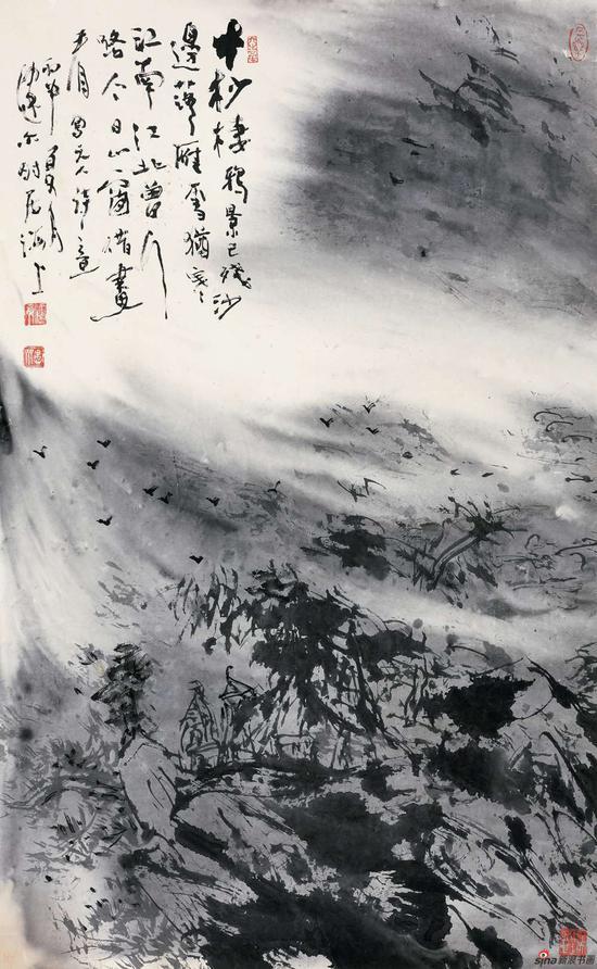 《寒村雪暮图》 58x92cm 2016