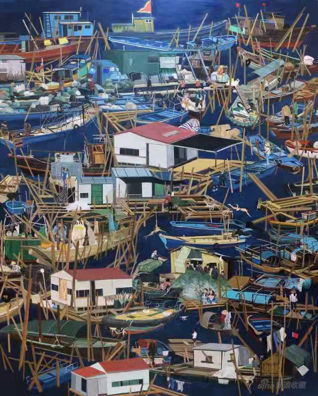 黄震军《深蓝渔歌》200cm×160cm2019