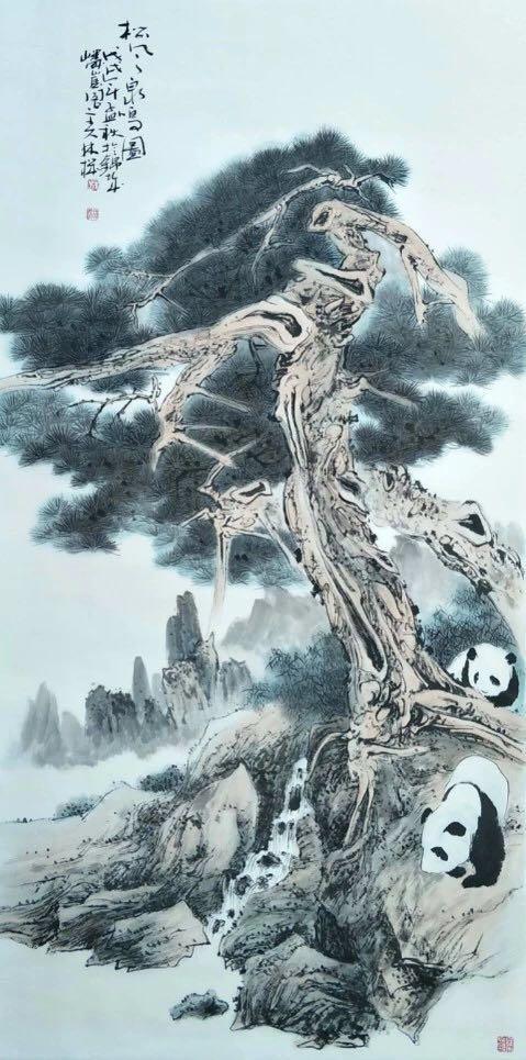林机 松风泉鸣图 69x138cm 2018