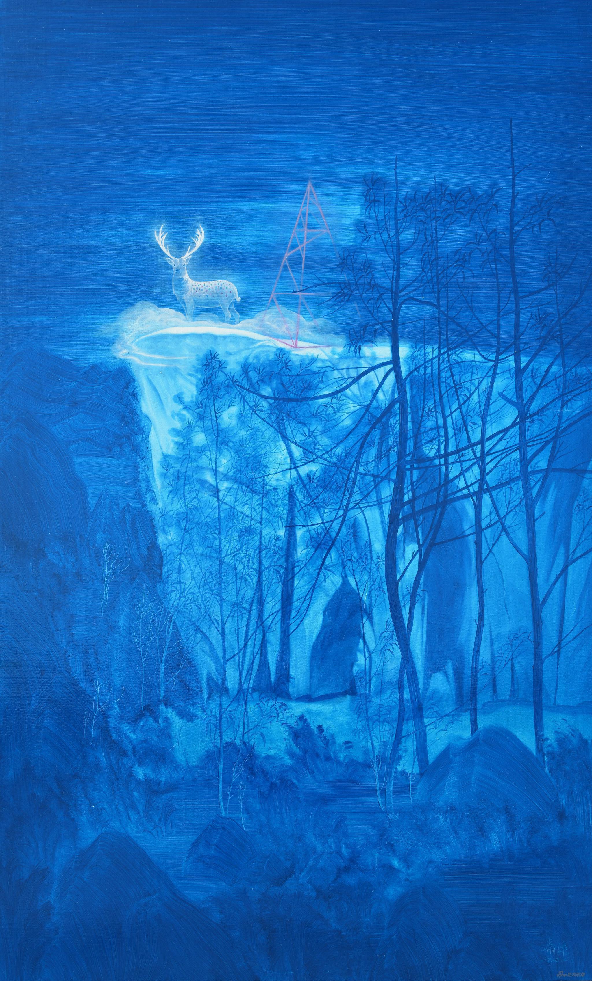 易国栋《生生不息——九色鹿王图No.2》100x60cm,布面油画,2020