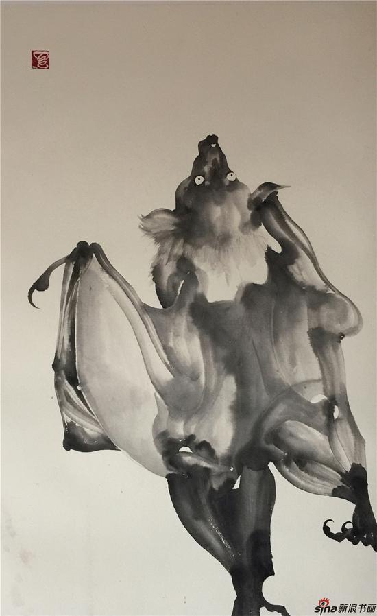 《蝠,之四》,70×50,纸本水墨,2016年