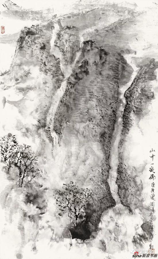 周汉《山中一夜雨》84cm×51cm 2000年