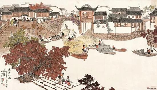 徐孅、金志远合作,鱼米之乡,1962,69×121.5cm,纸本水墨设色,中国画