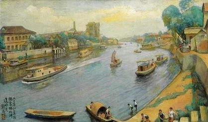 方干民晚期作品《拱宸桥北河道风光》,1983年