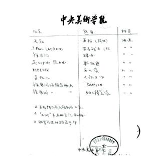 1969年中央美术学院开具的捐赠清单(古元所书)