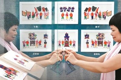 十三行博物馆收藏的通草画展品。广州日报全媒体记者莫伟浓 摄